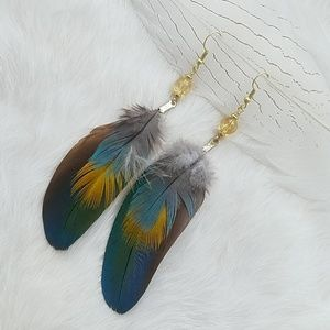 Citrine + Cruelty Free Feather Earrings